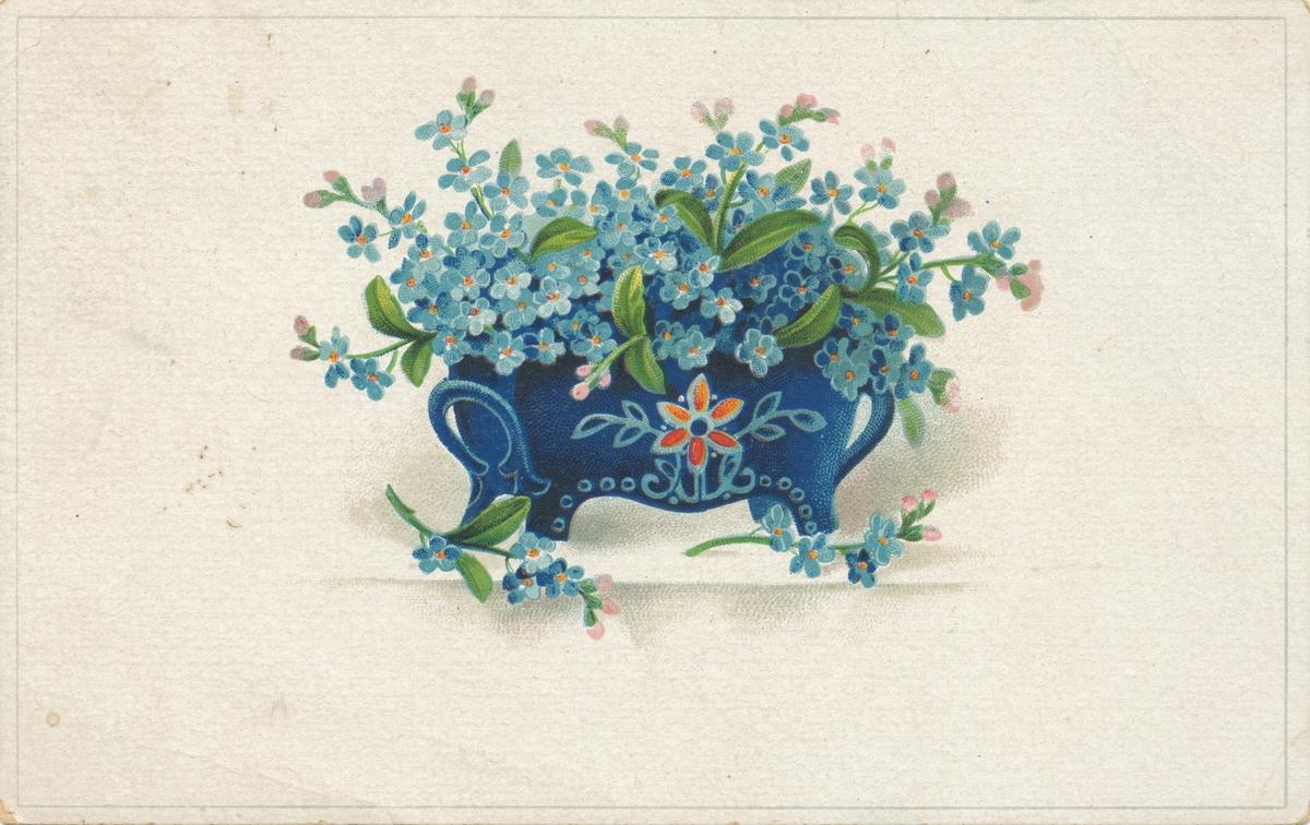 Postkortmotiv med blomsterdekor.