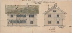 Fasader av Orkanger stasjon. [Tegning]