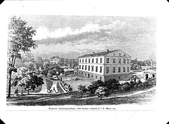 Ramnäs Bruksherrgård, träsnitt från 1865 av J.F Meyer.