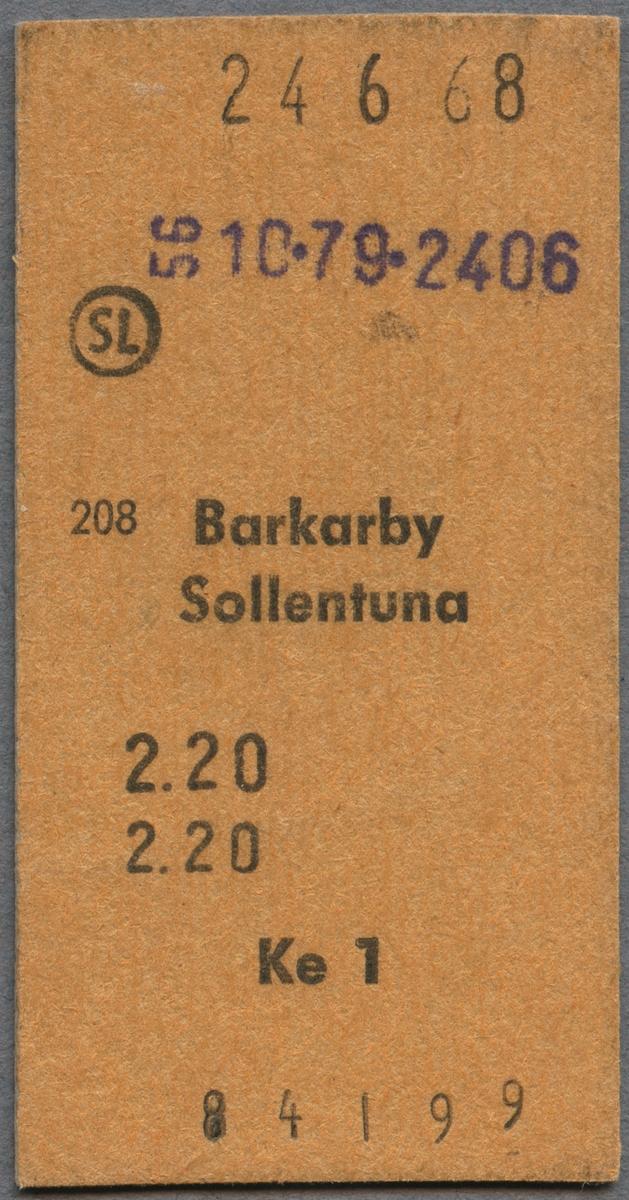 Biljett från AB Storstockholms lokaltrafik (SL) mellan Barkarby och Sollentuna. Biljetten är utfärdad 1968-06-24 och kostade 2,20 kronor.