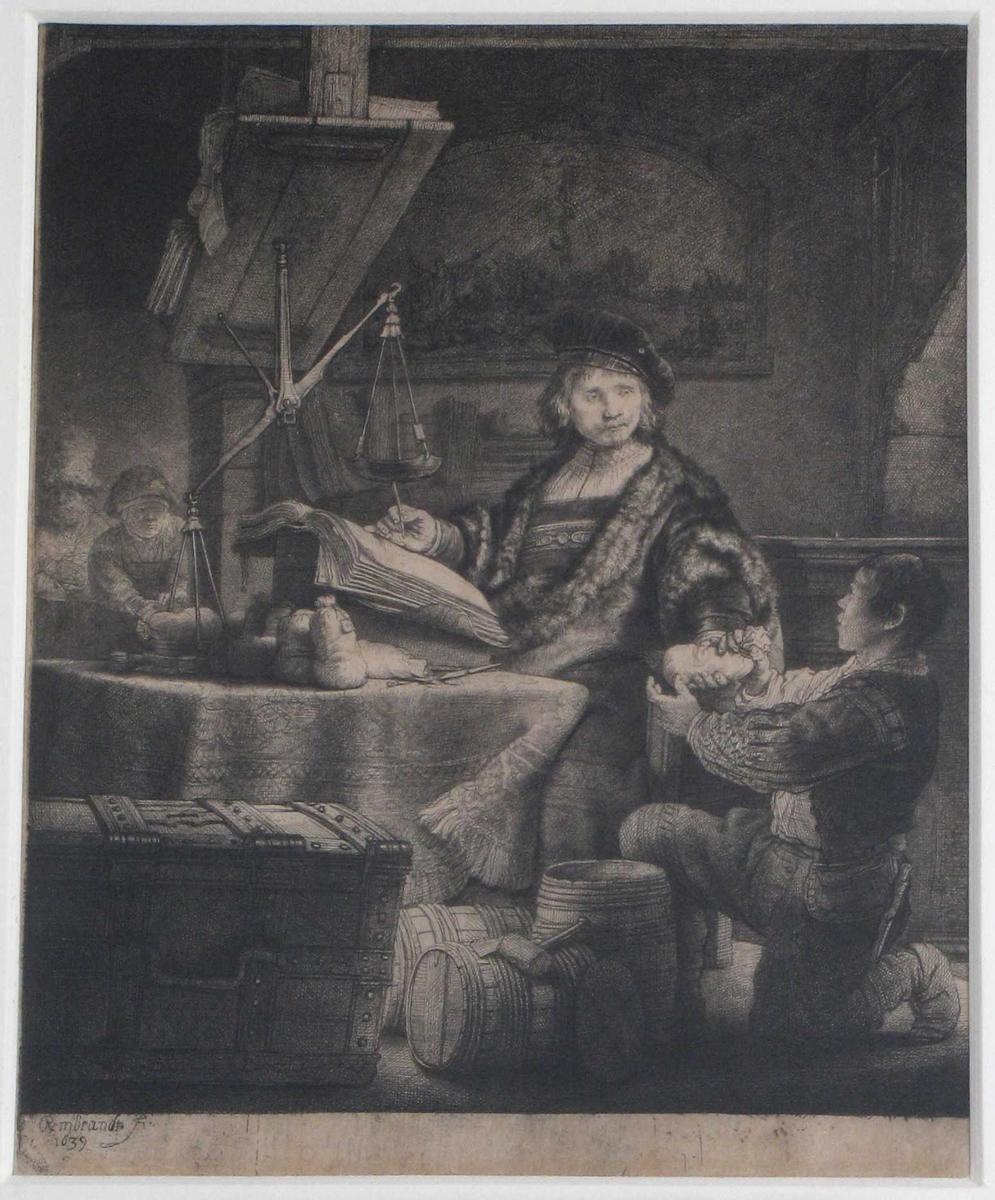 Interiør med gullveieren  midt i bildet, sittende ved bord med duk,  venstrevendt, i pelsbesatt drakt  og med  fløyelsbaret.   Knelende gutt th. for ham, tar imot en pengepose. Over bordet henger  vekten.  I forgr. tv. en beslått kiste,  i bakgr. tv. en eldre kvinne.  I forgr. pm. 3 tønner.  På veggen i bakgr. henger et bilde  med buet overkant: motiv: Dansen om stang med slange . Moses og  kobberslangen.