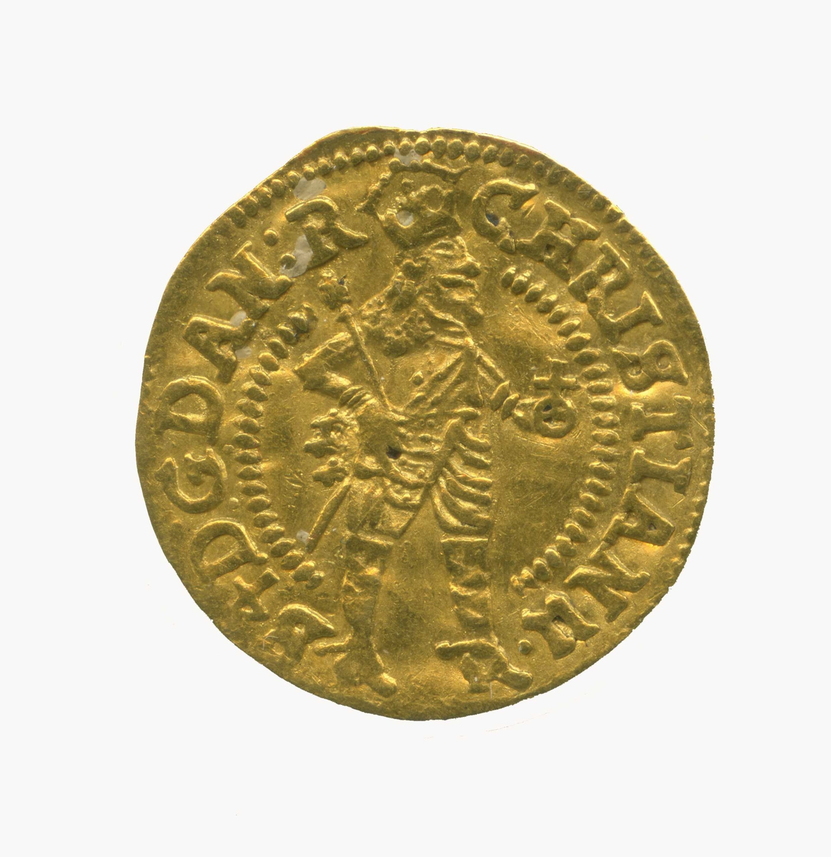Adv. Konge med krone, septer og rikseple. Rev. Brille over tekst på den ene siden.