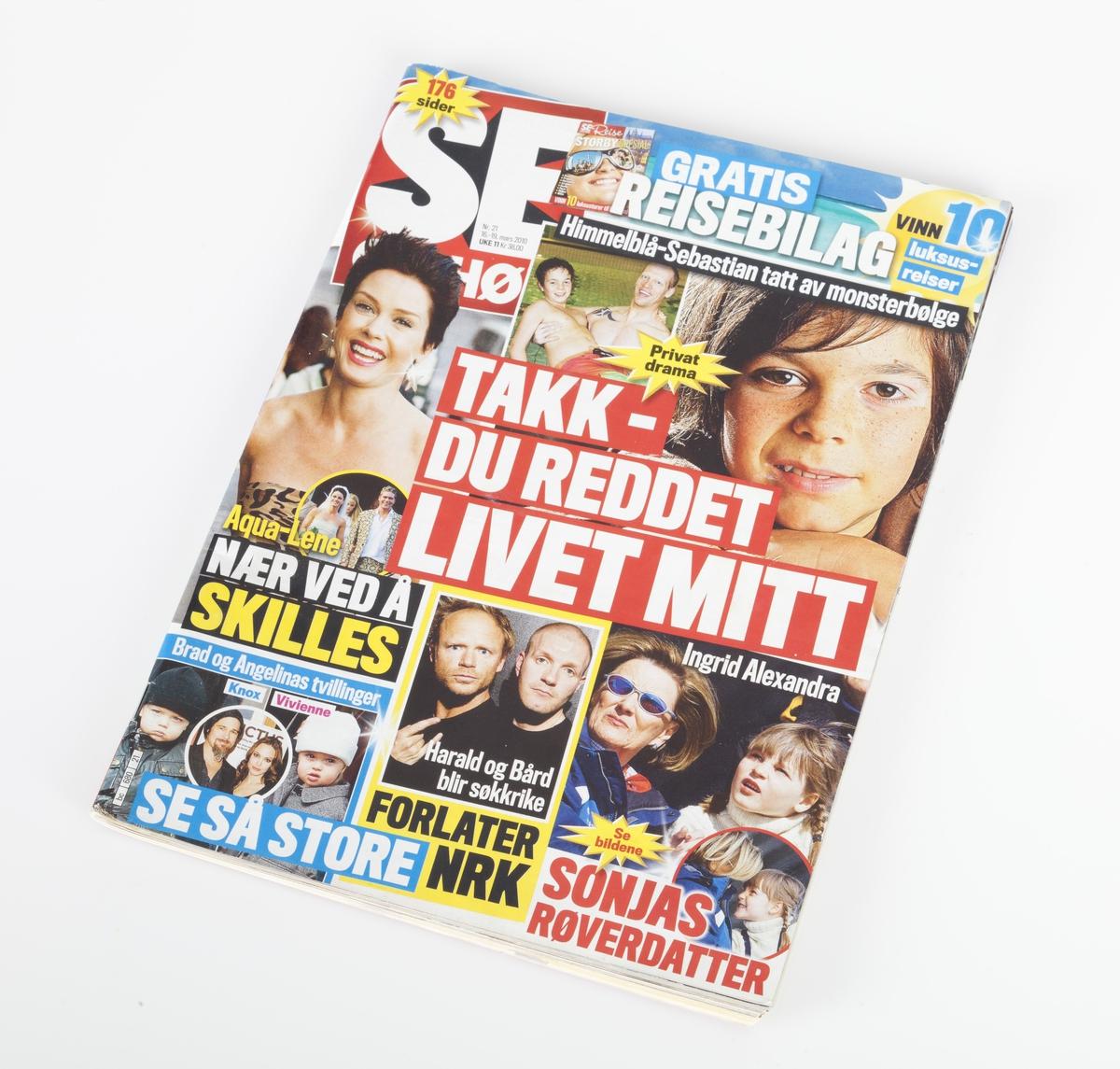 Collage: fete overskrifter samt bilder av kjente personer i mange og klare farger.