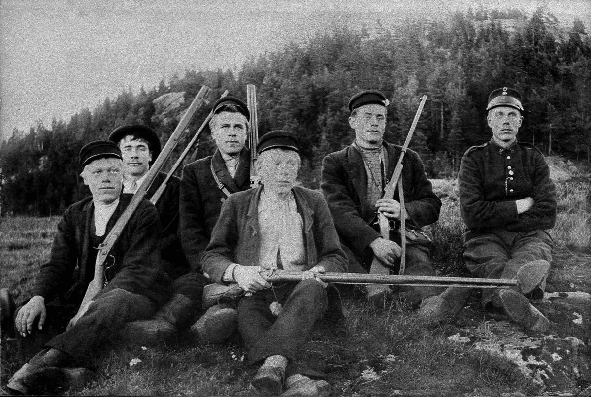Bilder fra Birkenes kommune Jaktlag på Håbersland ca 1905