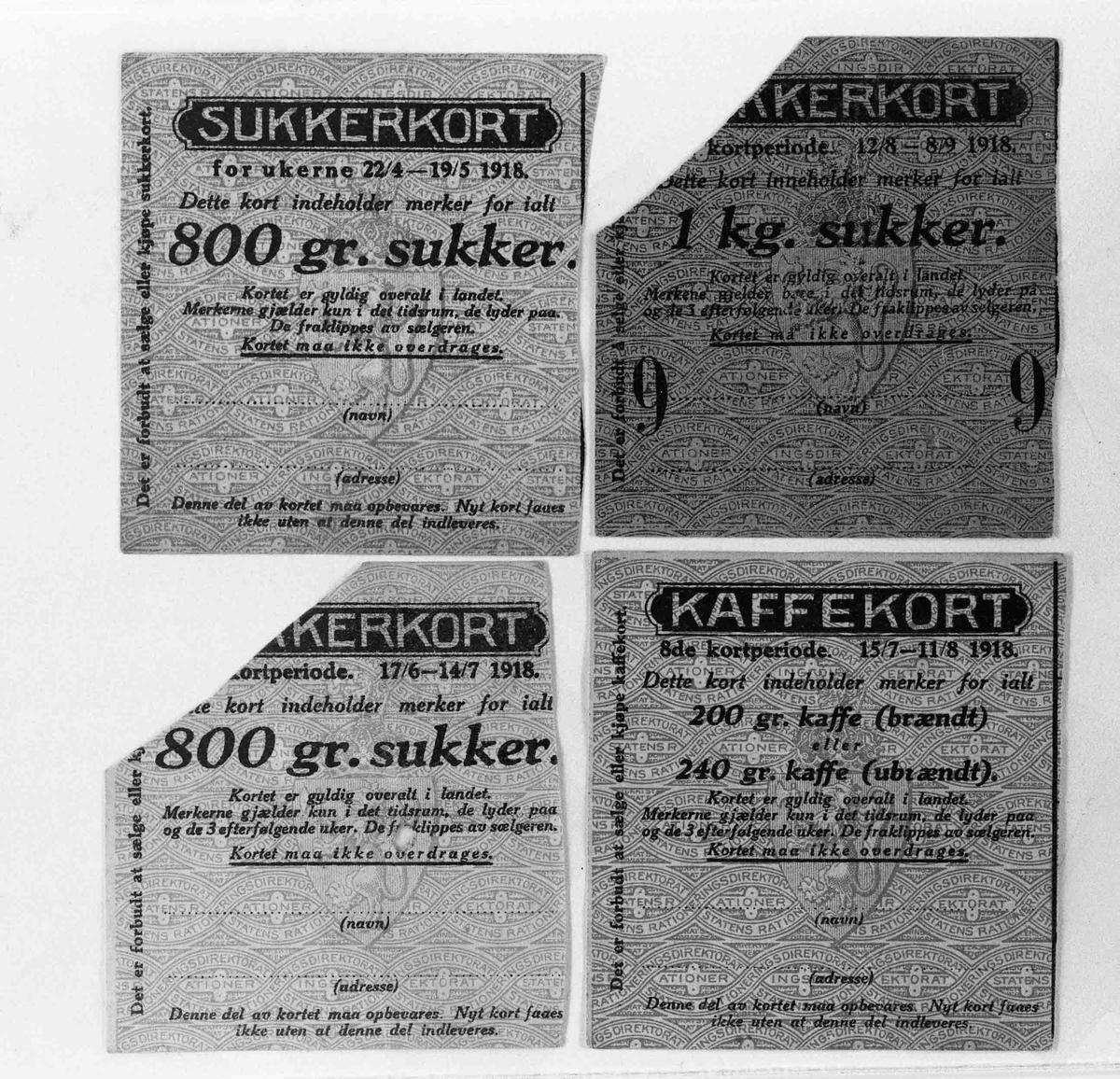 Rasjoneringskort fra 1. verdenskrig.