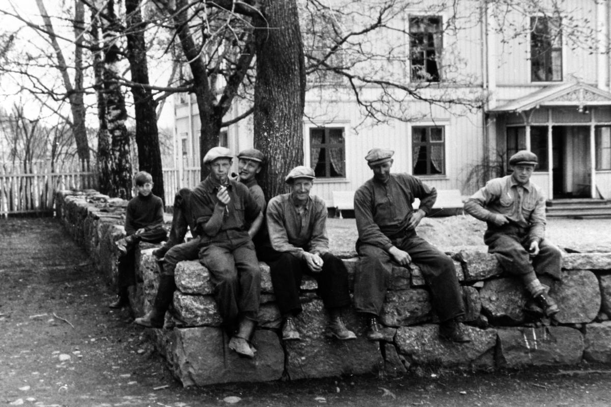 Arbeidskarer på Tjerne gård, Gaupen, Ringsaker. Svein Syversen, Even Nyborg, ukjent, Petter Tajet, Sigvart Syversen, Mauritz Bakken.