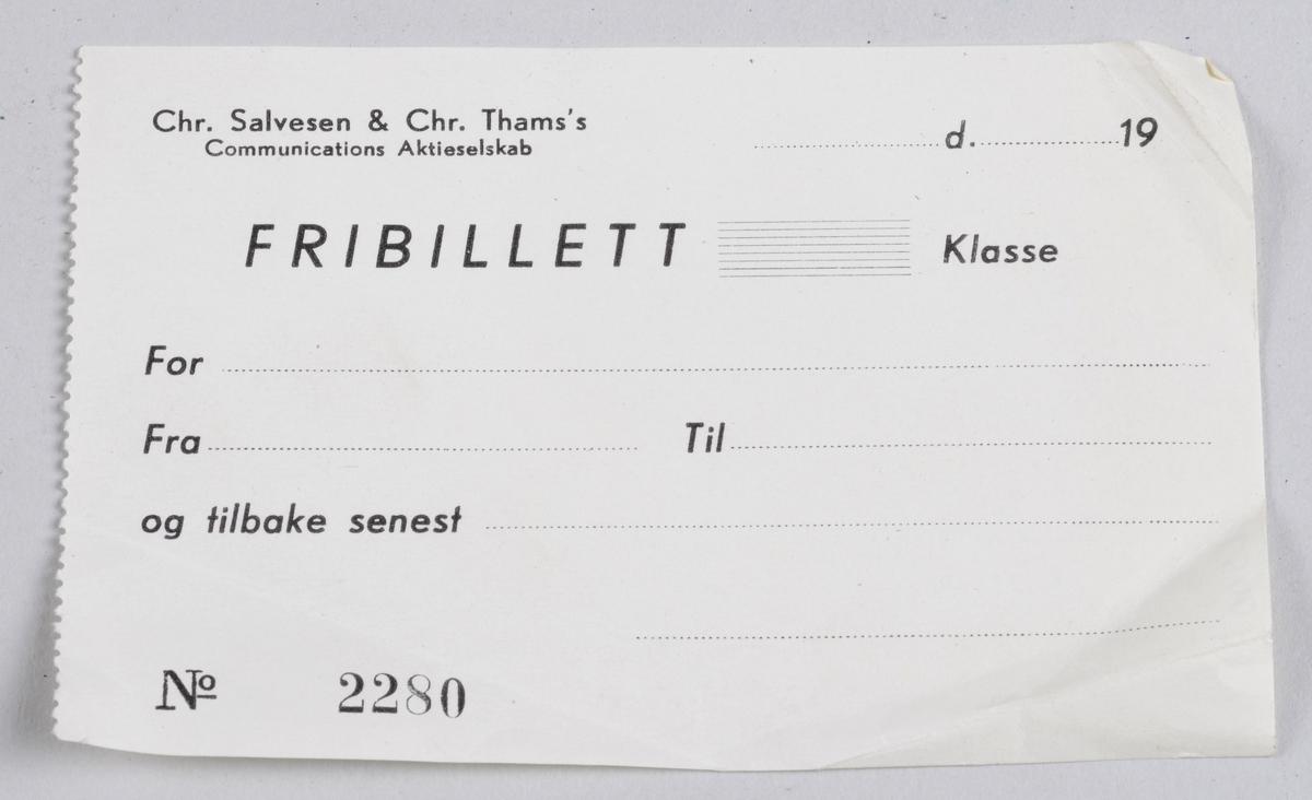 Avlang ubrukt billett i papir.