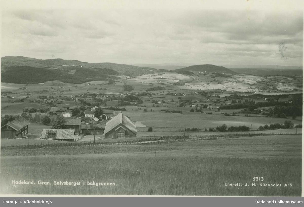 Oversiktsfoto fra Linstad i Lynnebakka mot Gran, Tingelstad og Sølvsberget