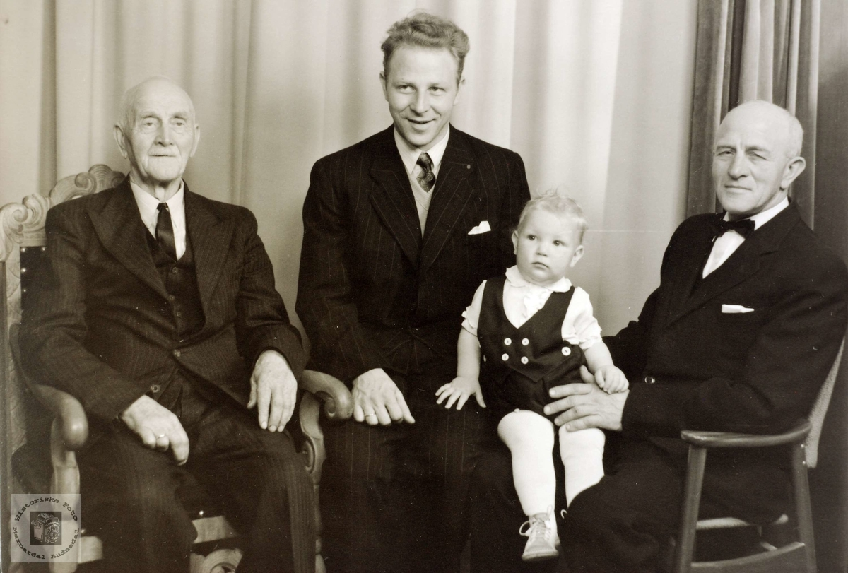 Fire generasjoner Hårtveit der hver av de er eldst i sin søskenflokk.