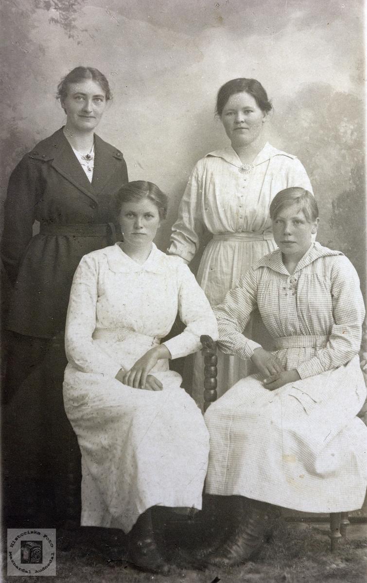 Portrett av fire unge damer fra Grindheim.