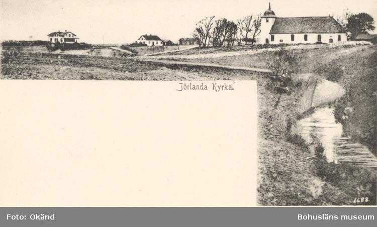 """Tryckt text på kortet: """"Jörlanda. Kyrka""""."""