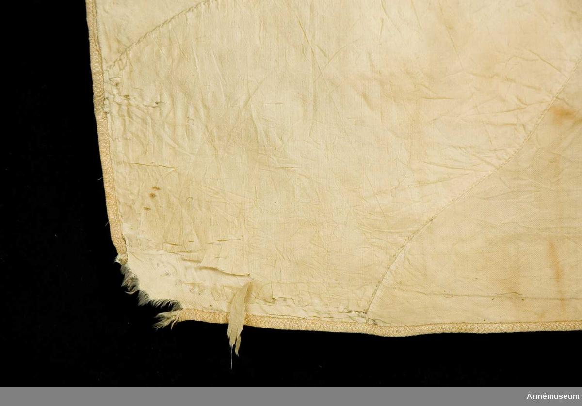 Duk: Tillverkad av enkel vit sidenkypert med påsydda flammor, från hörnen i rött och från sidornas mitt i blått. Duken kantad med rött sidenband. Fäst vid stången med en rad på rött sidenband.  Dekor: I mitten broderat lika på båda sidor Västergötlands vapen, en oval sköld styckad, från vänster, svart och gul och över båda fälten ett dubbelsvansat lejon, gult på det svarta, svart på det gula, en öppen krona i gult silke.  Stång av blåmålad furu (avsågad). Holk av mässing. Spets med lilla riksvapnet infattad av två lyrformigt böjda, upptill i en strålande nordstjärna förenade palmkvistar.