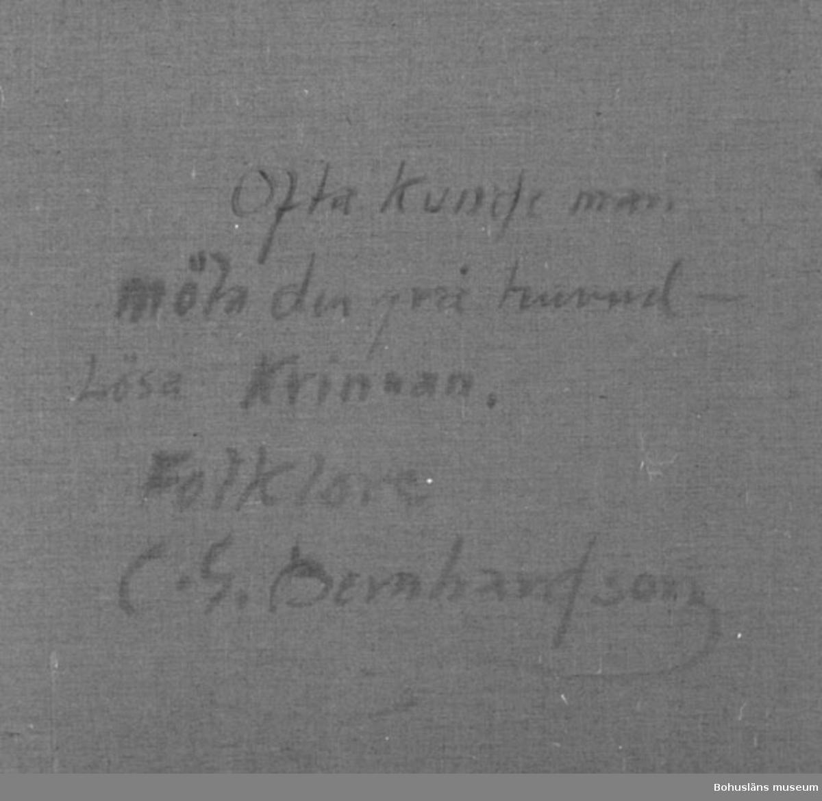 """Baksidestext: """"Ofta Kunde man möta den grå huvudlösa Kvinnan. Folklore C.G. Bernhardson.""""  Litteratur: Bernhardson, C.G.: Bohuslänska kustbor, Uddevalla, 1983, s. 68.  Titel i boken: Mötet.  Övrig historik; se CGB001."""