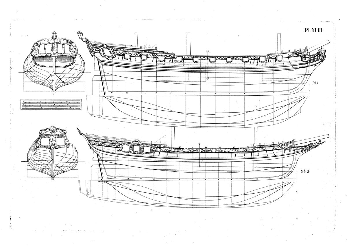 Fregatt och skonert. Linjeritningar och spantrutor med större och mindre djupgående.