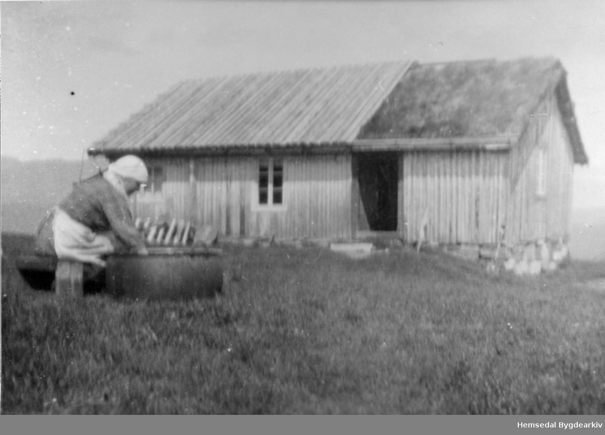 Gunhild T. Thorset, fødd Bøygard i 1903, her på Hovdestølen på Sireslettane i Hemsedal (61.26).  Har truleg kokt mjølkeprim for her gjer ho rein storekjelen.