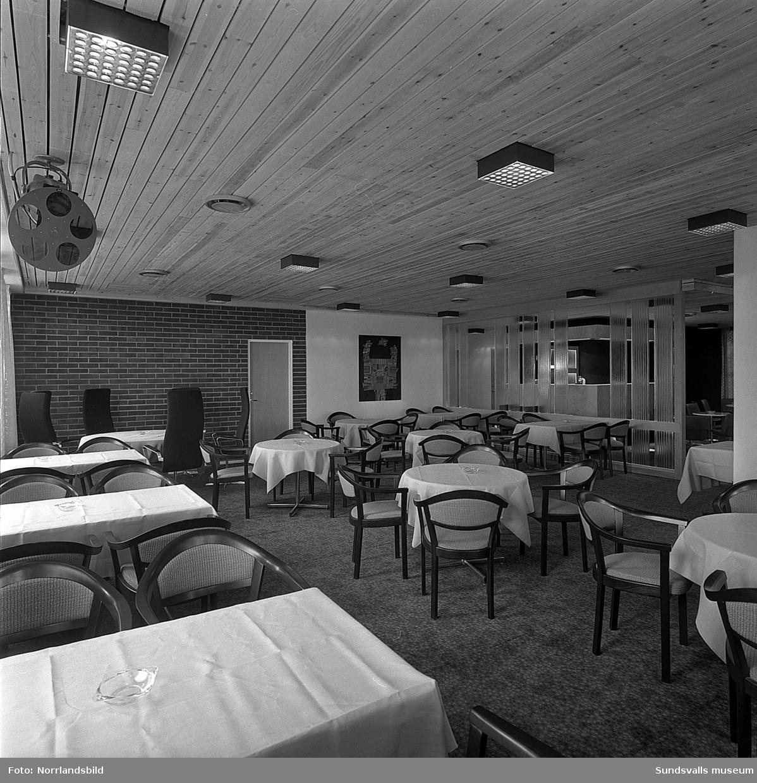 Esso Motorhotell i Bydalen, Gärde, relativt nybyggt. Exteriör- och interiörbild.