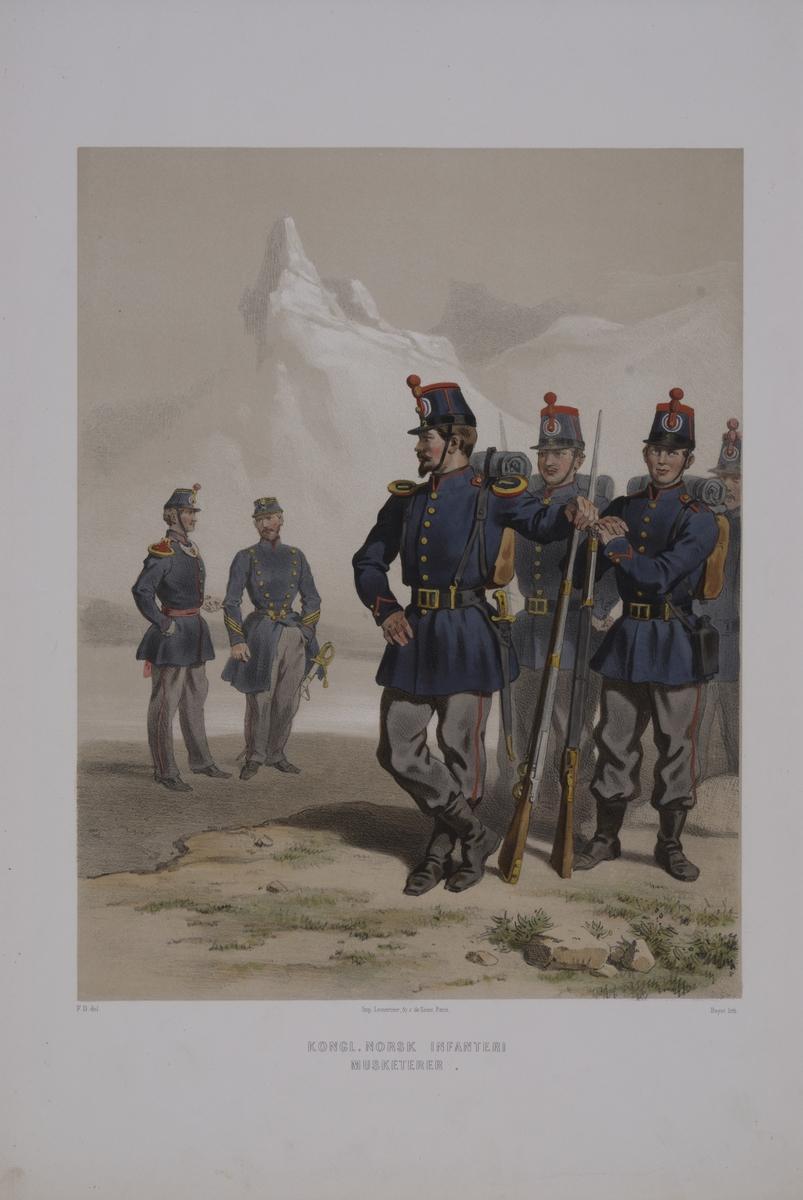 Plansch med uniform för musketerare vid Norska infanteriet. Plansch i färgtryck efter original av Fritz von Dardel. Ingår i planschsamlingen Den svenska och norske armeens uniformer, 1861-1863.