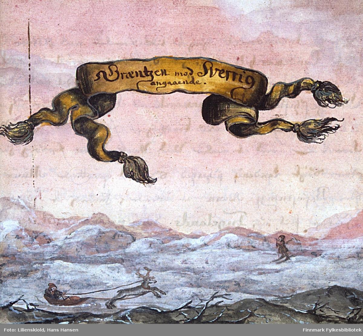 Græntzen mod Sverrig angaaende. Vinterbilde som viser transport med rein og pulk, samt en skiløper. Innledningsillustrasjon til Cap. 4 i 2. binds første deling