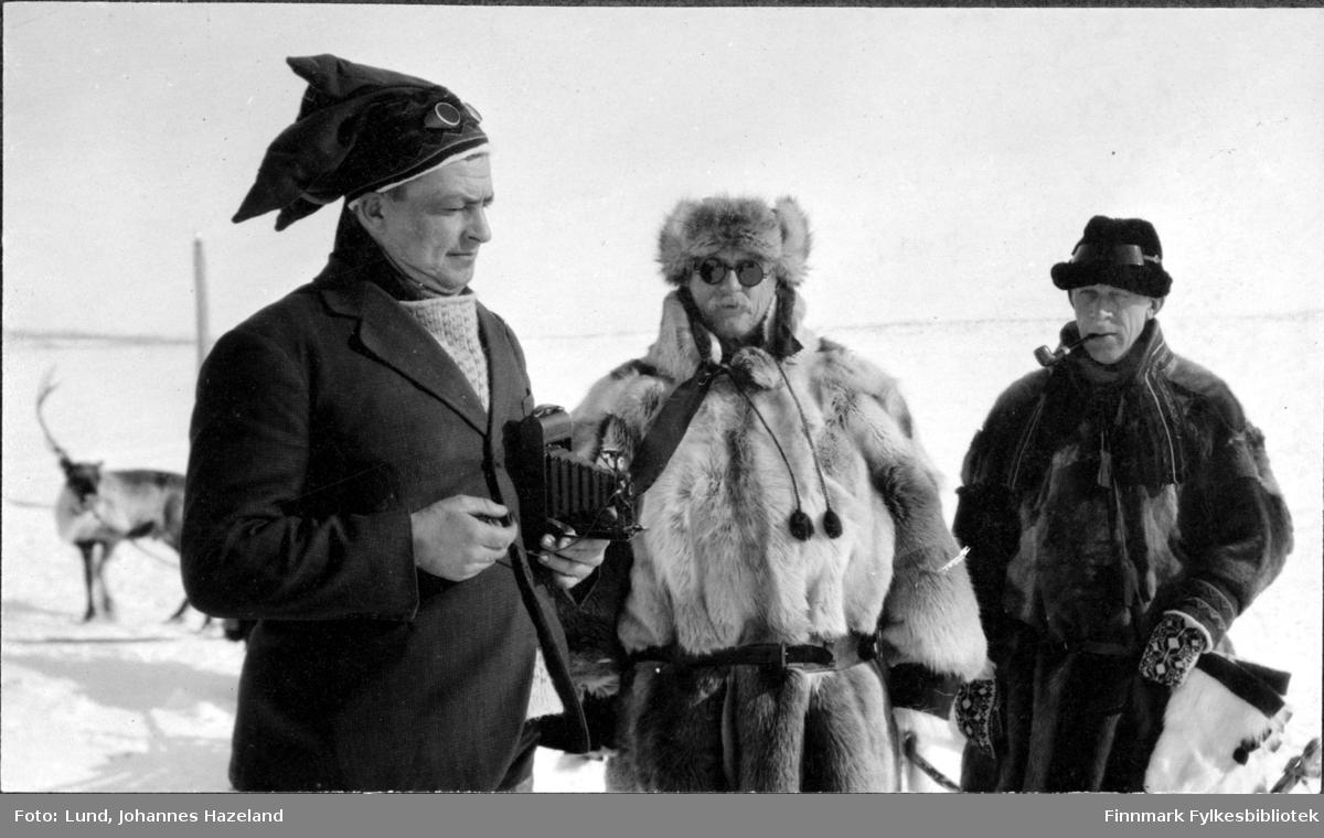 Tre menn på Finnmarksvidda om vinteren