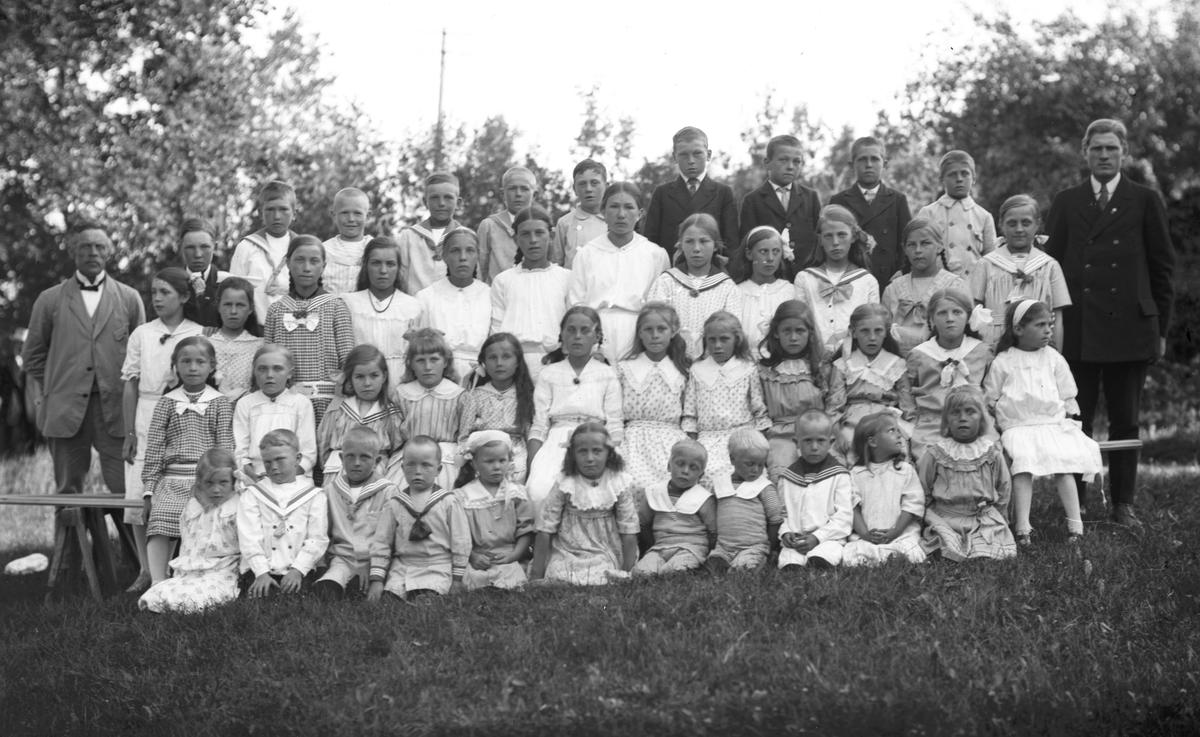 Söndagsskola i Hästbo.Till vänster lärare Anders Strid Ö. Hästbo och till höger lärare Anders Lindström W. Hästbo.