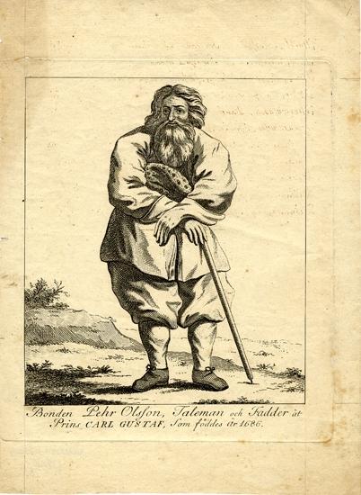 """Stålstick. (Efter målning av Ehrenstrahl ?).  Bonde stående i ett kargt landskap. I ena handen håller han en stav. Under sticket står: """"Bonden Pehr Olsson, Taleman och Fadder åt Prins Carl Gustaf, Som föddes år 1686""""."""