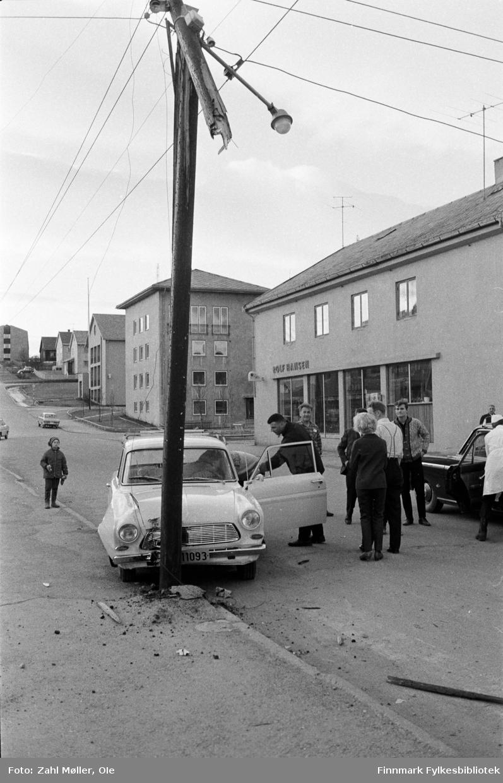 Trafikkulykke på Tollbugata i Vadsø, i 1969.