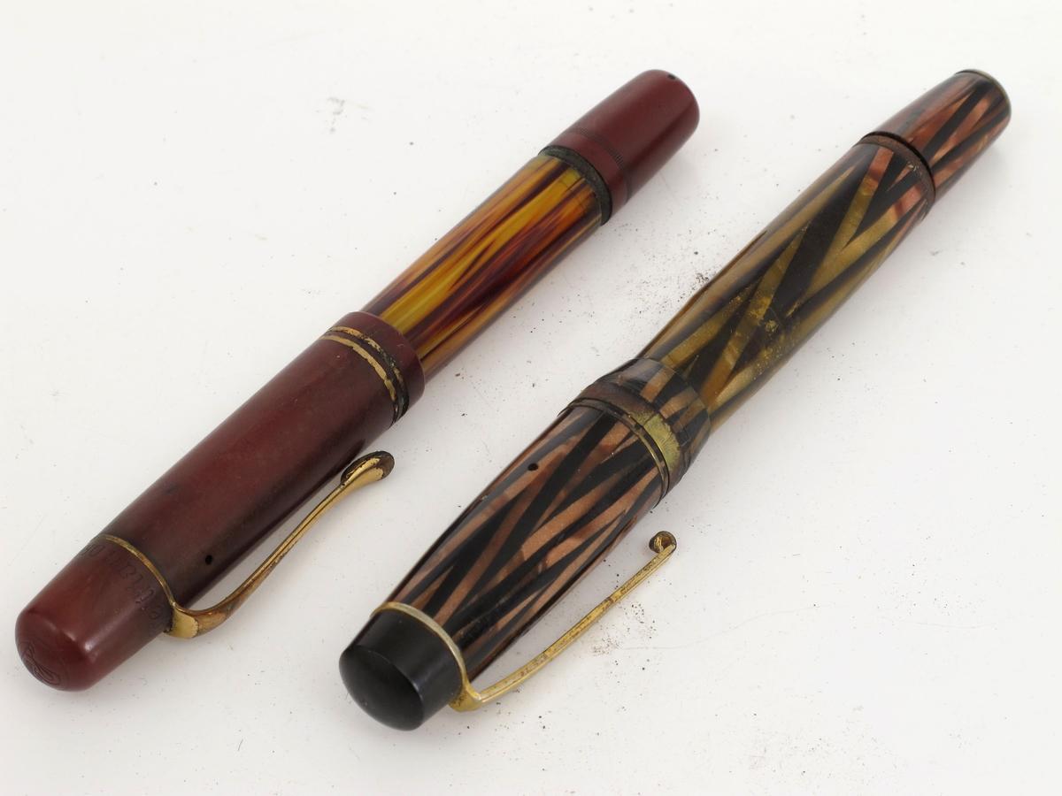 Fyllepenner, penn og holk lynildmønstret rosa og mørkbrunt  perlemor/ skillpaddeimitasjon.