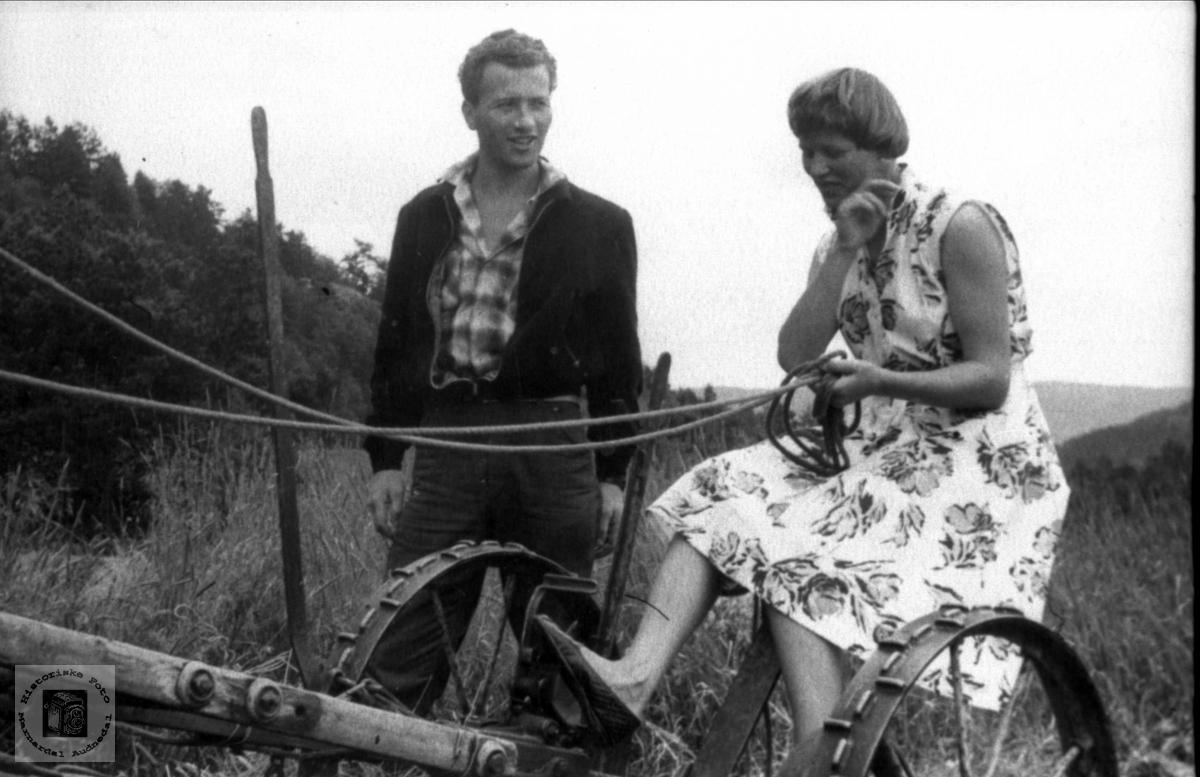 På slåmaskinen. Emil og Bjørg Astrid Øveraas.