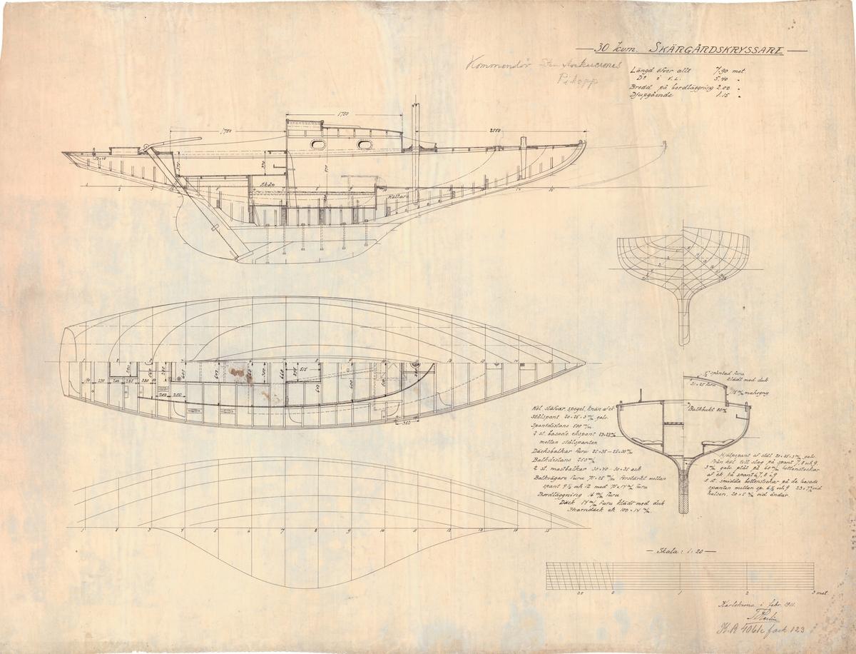Plan, profil, spant och segelritningar