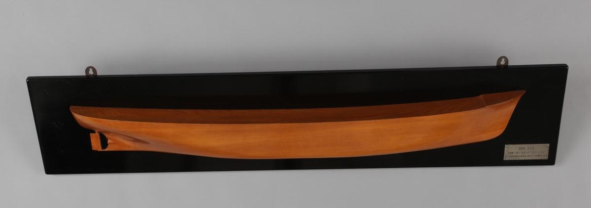 Halvmodell av DS SONGA montert på treplate.