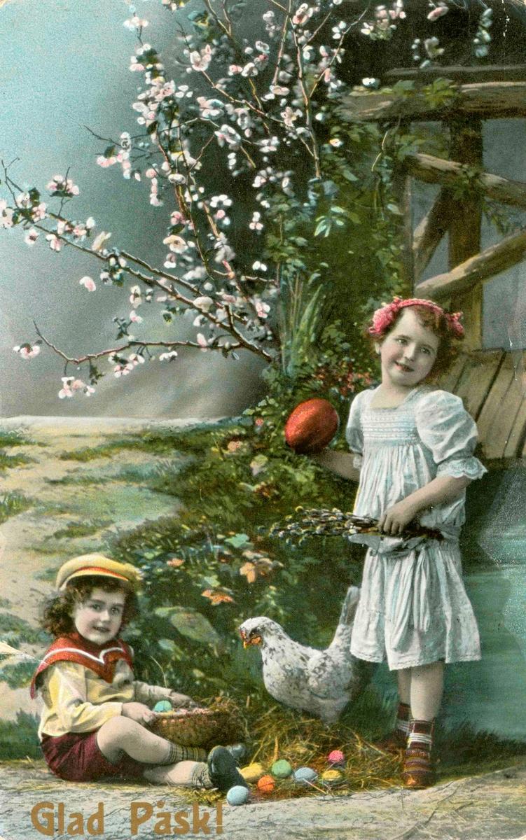 Ett påskkort till fröken Karin Andersson, Bremergatan 11, Kalmar, från faster. Kortet är stämplat i Böda 1910.