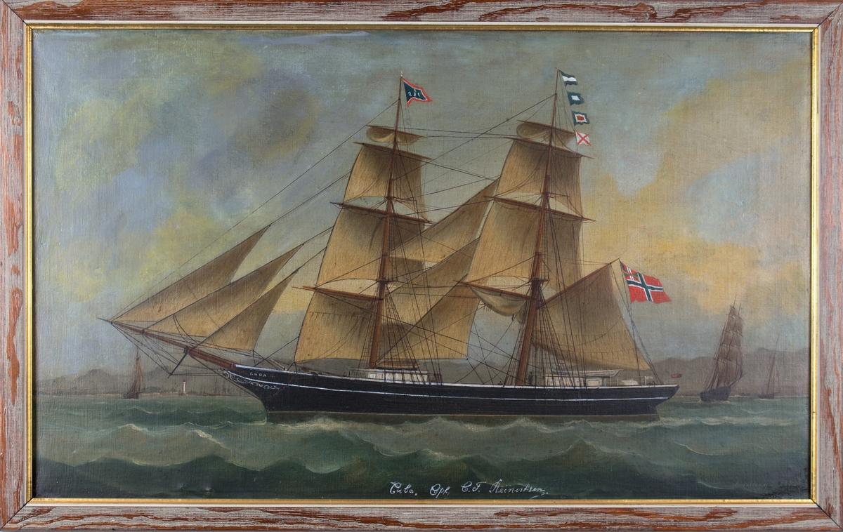 Skipsportrett av brigg CUBA utenfor en kystby med hvitt (fyr) tårn. Tre seilskip i bakgrunnen. I fortopp signalflagg med X281. I akterste mast signalflagg JPWV. Fører norsk handelsflagg med unionsmerke .