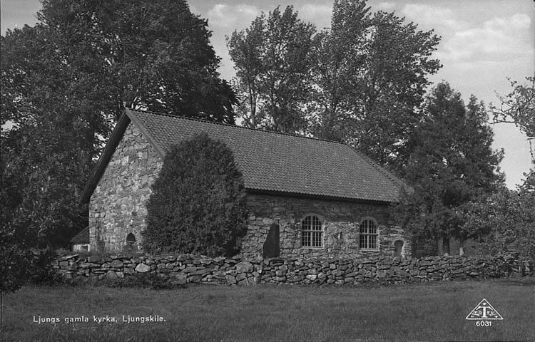 """Enligt Bengt Lundins noteringar: """"Lyckorna. Ljungs gamla kyrka. Vykort TF 6031 Foto BL 736""""."""
