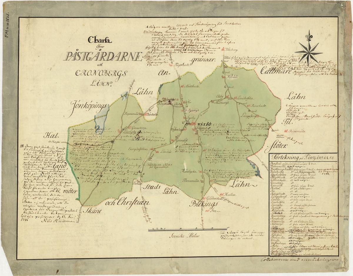 Postkarta över postgårdarna i Kronobergs län, Småland, under 1700-talets mitt. Kartan visar endast Kronobergs län, de angränsande länen namnges endast vid sidan om. En förteckning över postgårdar finns i nedre högra hörnet. Kartan är ritad och kolorerad för hand. Kartbladet översållad med postala anteckningar angående postföring mm. Anteckningar finns även på baksidan.