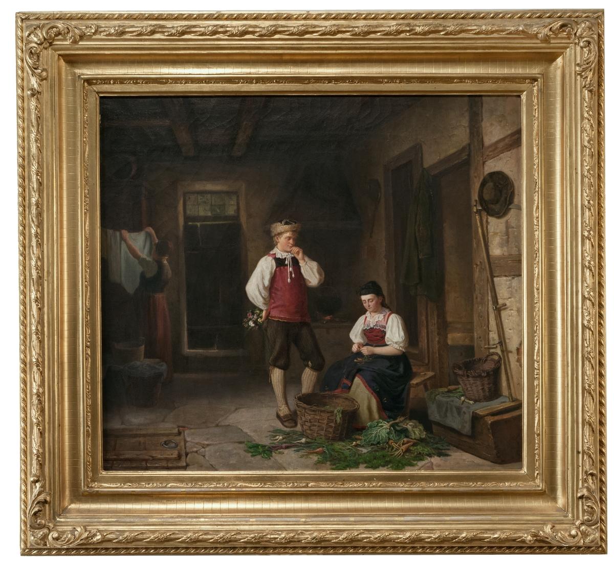 """Oljemålning, """"Ett frieri"""" av Alfred Eriksson, 1862."""
