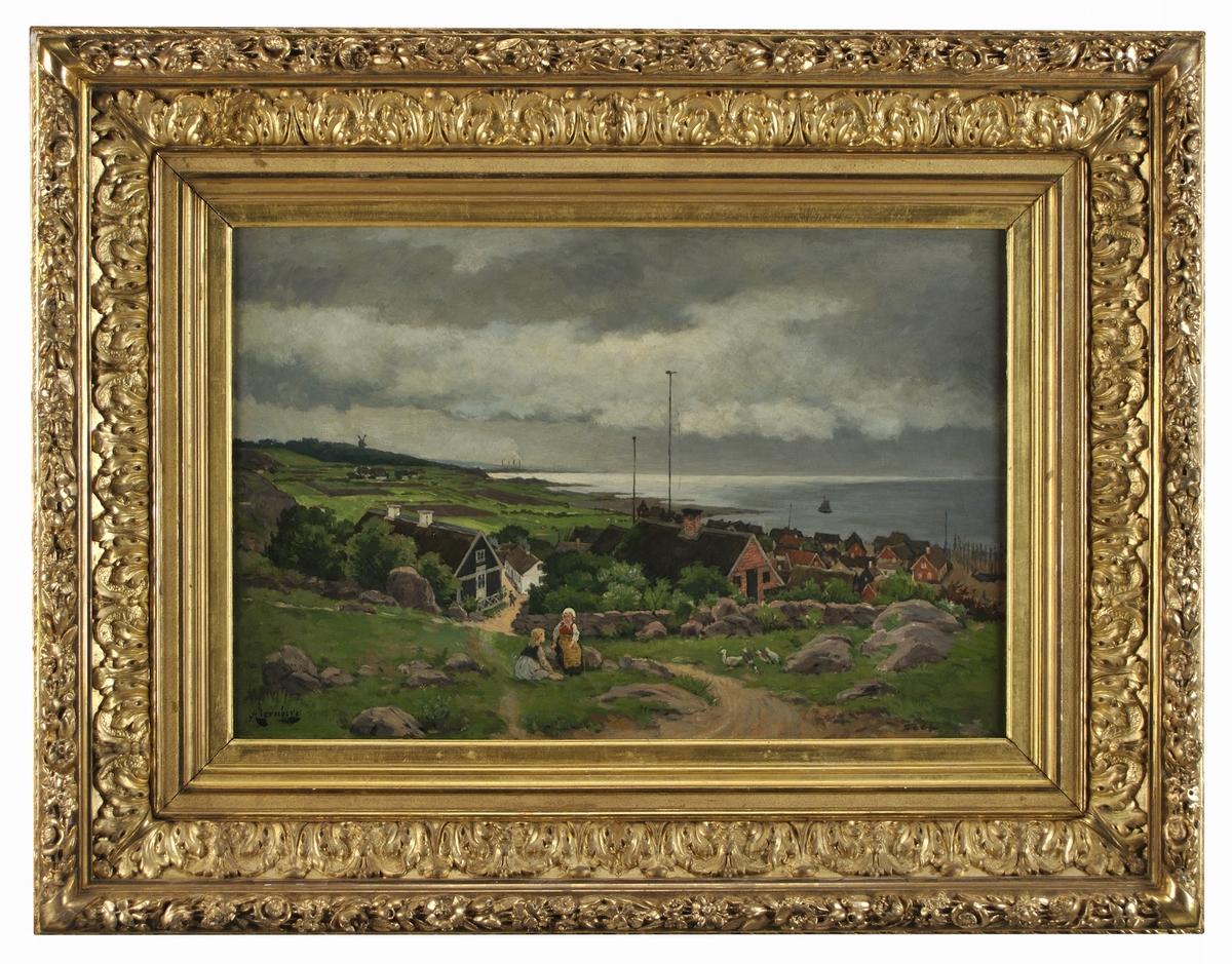 Acc.kat: Olja på duk, Landskap, signerad August Jernberg.