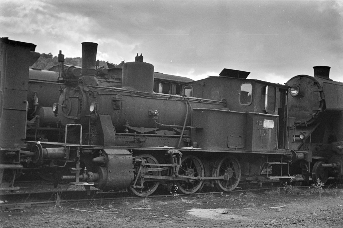 Damplokomotiv type 25d nr. 421 hensatt i Lodalen i Oslo.
