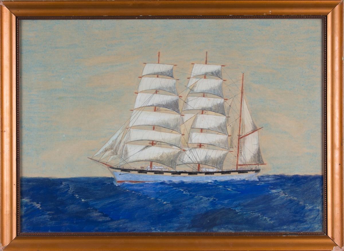 Skipsportrett av bark NORRØNA for fulle seil på åpent hav.  Den fargelagte tegningen er litt amatørmessig og trolig utført på hobbybasis.