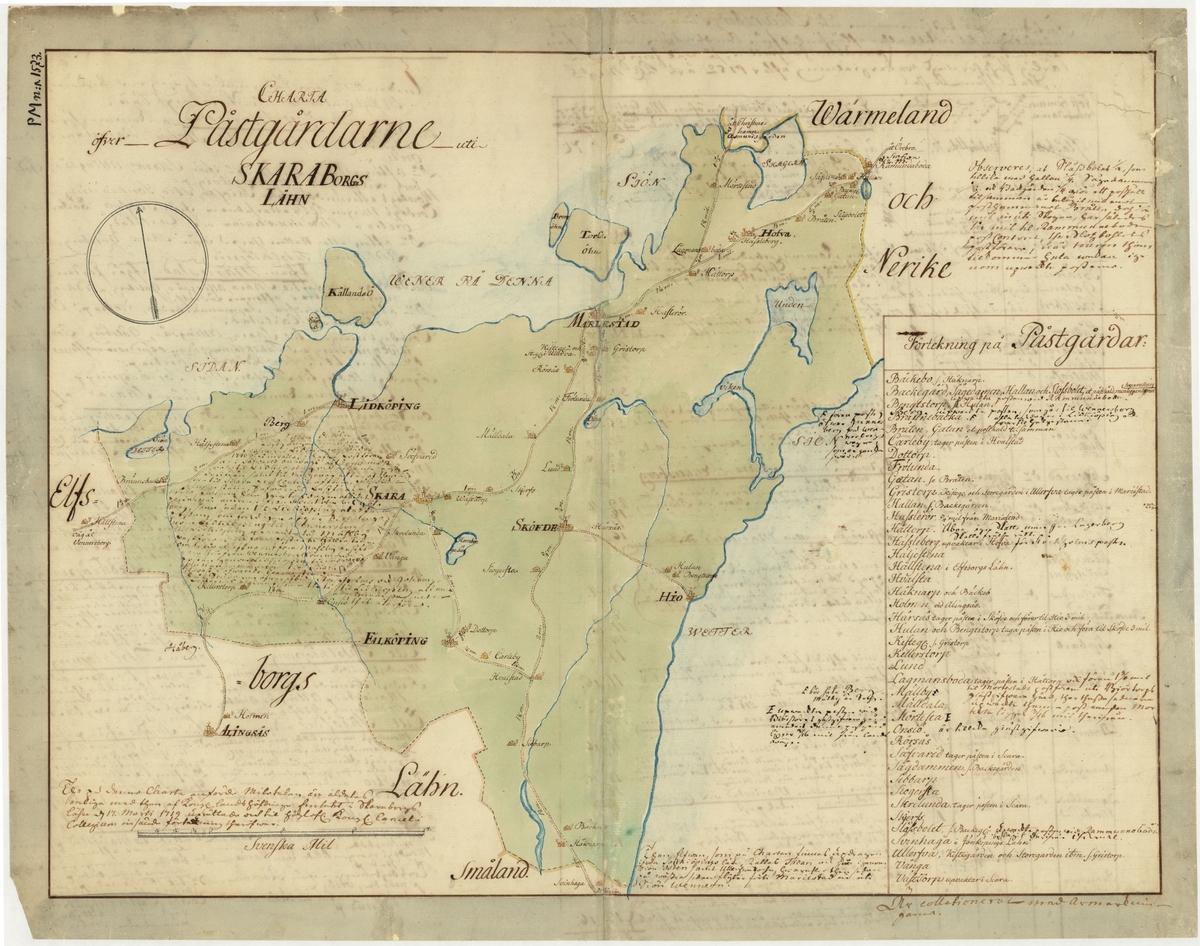 Postkarta över postgårdarna i Skaraborgs län, Västergötland, under 1700-talets mitt. Kartan visar endast Skaraborgs län, de angränsande länen namnges endast vid sidan om. En förteckning över postgårdar finns i nedre högra hörnet. Kartan är ritad och kolorerad för hand. På kartans baksida finns anteckningar om postföring.