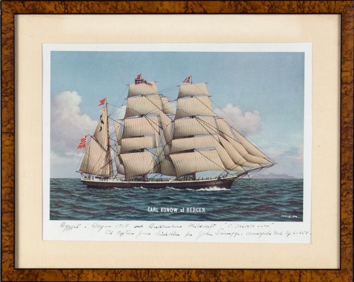 Skipsportrett av bark CARL KONOW for fulle seil.