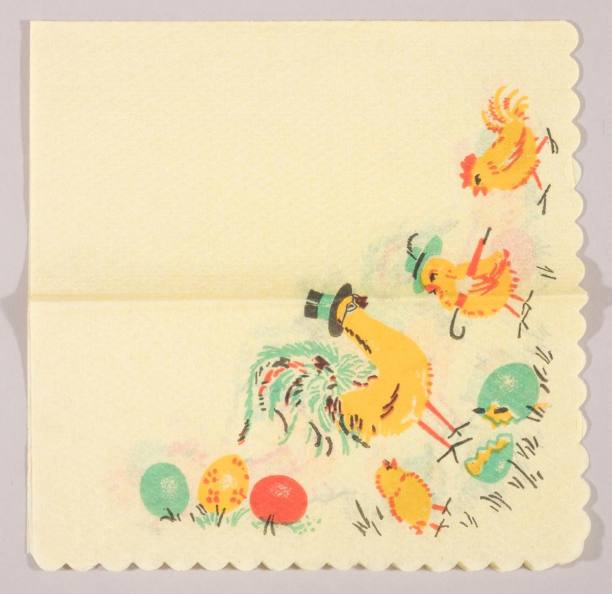 En hane med høy hatt omgitt av to høner og en kylling. Den ene hønen har damehatt og paraply. En gressplen med kulørte påskeegg og skallet av et påskeegg.