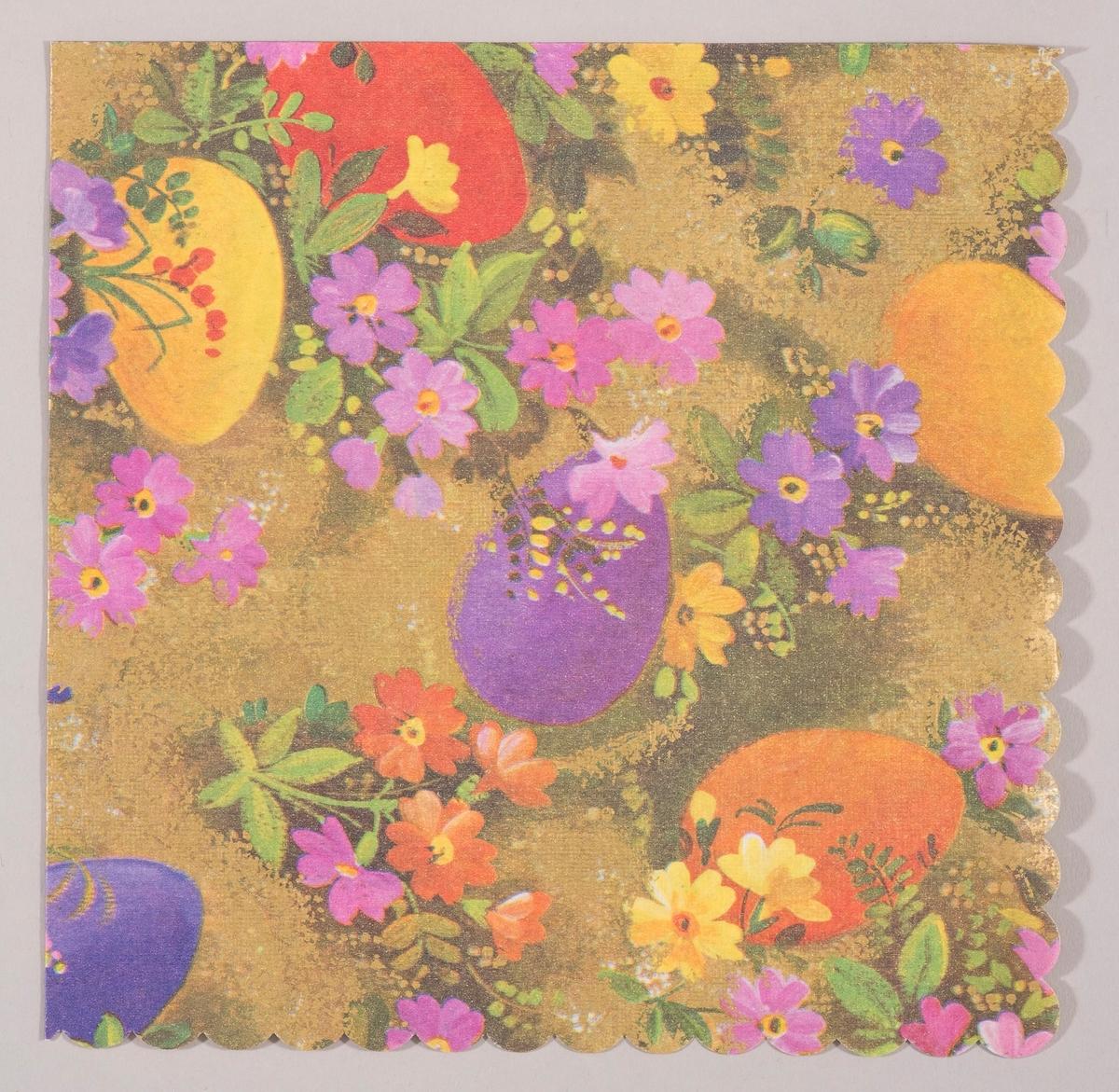 Kulørte påskeegg og gule, røde, rosa og lilla blomster i en gylden blomstereng.