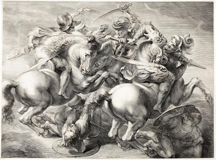 """Kopparstick.  """"Slaget vid Anghiari, (eller """"Striden kring fanan"""").  Stridsscen med hästar. Stucket efter Rubens' teckning (ca 1603) ( i Louvren, Paris) av Leonardo da Vincis numera försvunna fresk  (från 1505) i Palazzo Vecchio, Florens."""