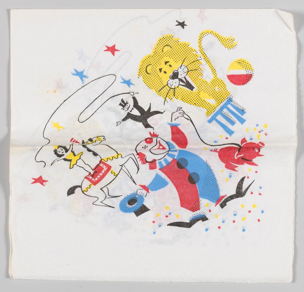 En scene fra sirkus. En klovn står med en gris i bånd. En løve sitter på en taburett. En sirkusprinsesse står på ryggen av en sirkushest. En sirkusdirektør med flosshatt svinger en lang pisk. I bakgrunnen kulørte stjerner og på bakken kulørte prikker.
