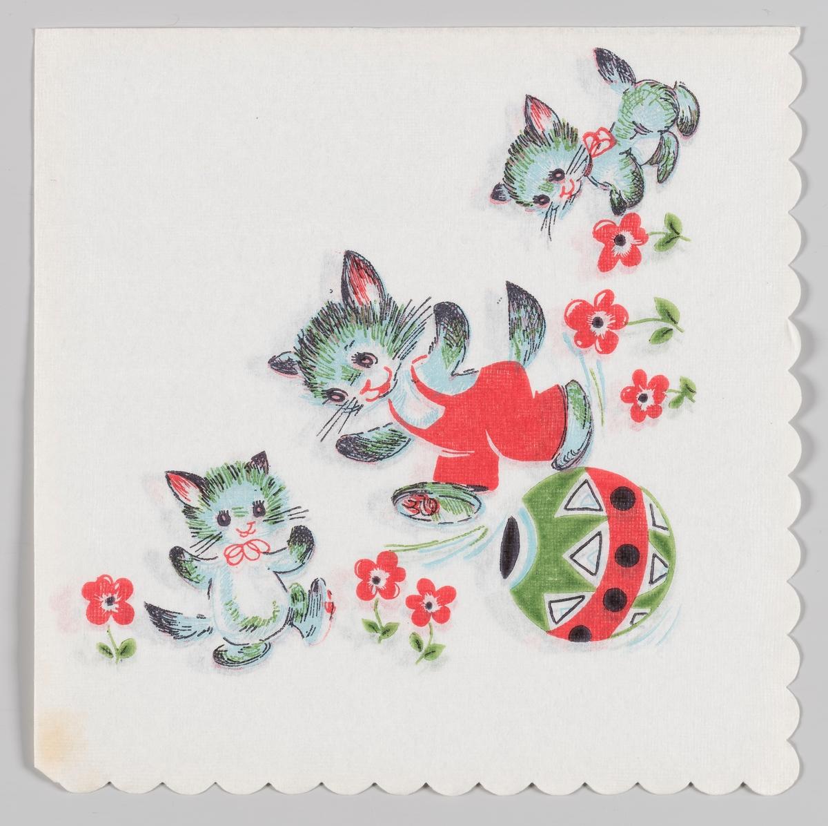 En katt med røde bukser som balanserer på en stor ball med mønster. To katter med røde sløyfer om halsen omgitt av røde blomster.