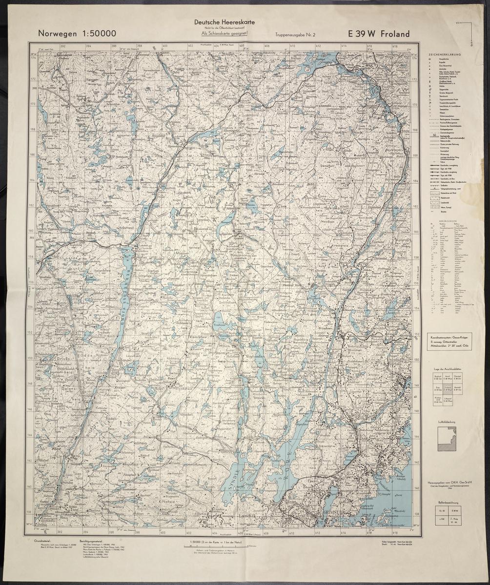 Kart over Froland, Deutsche Heereskarte