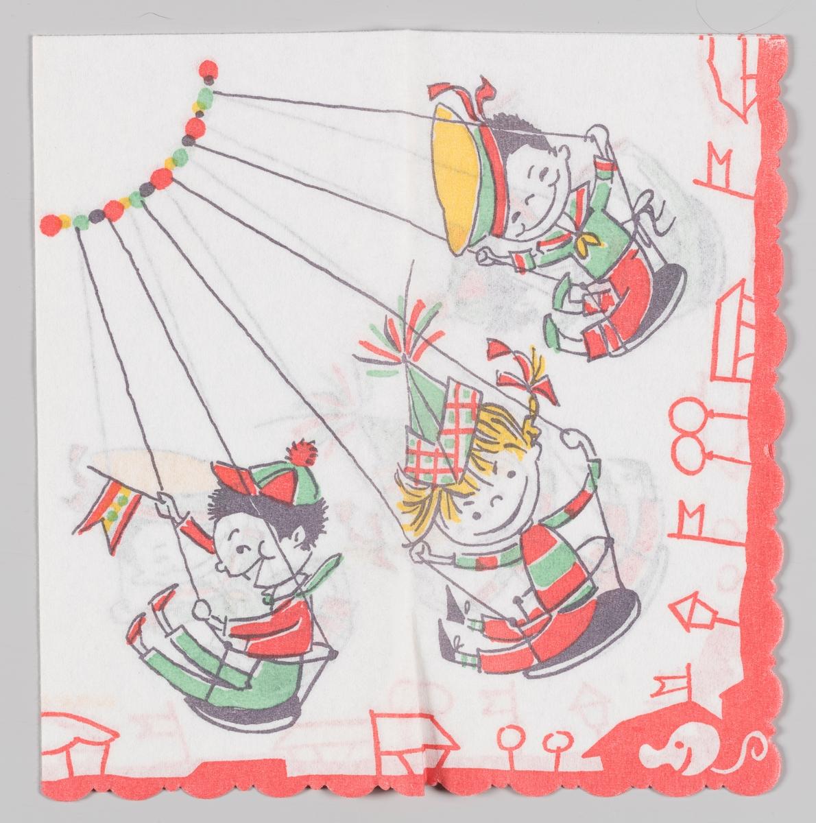 Tre gutter i en huske karusell. Langs kanten stiliserte telt og flagg.