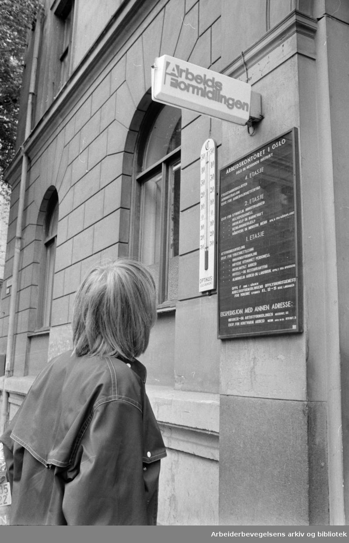 Oslo - Arbeidskontoret/Arbeidsformidlingen. Eksteriør. Juli 1969