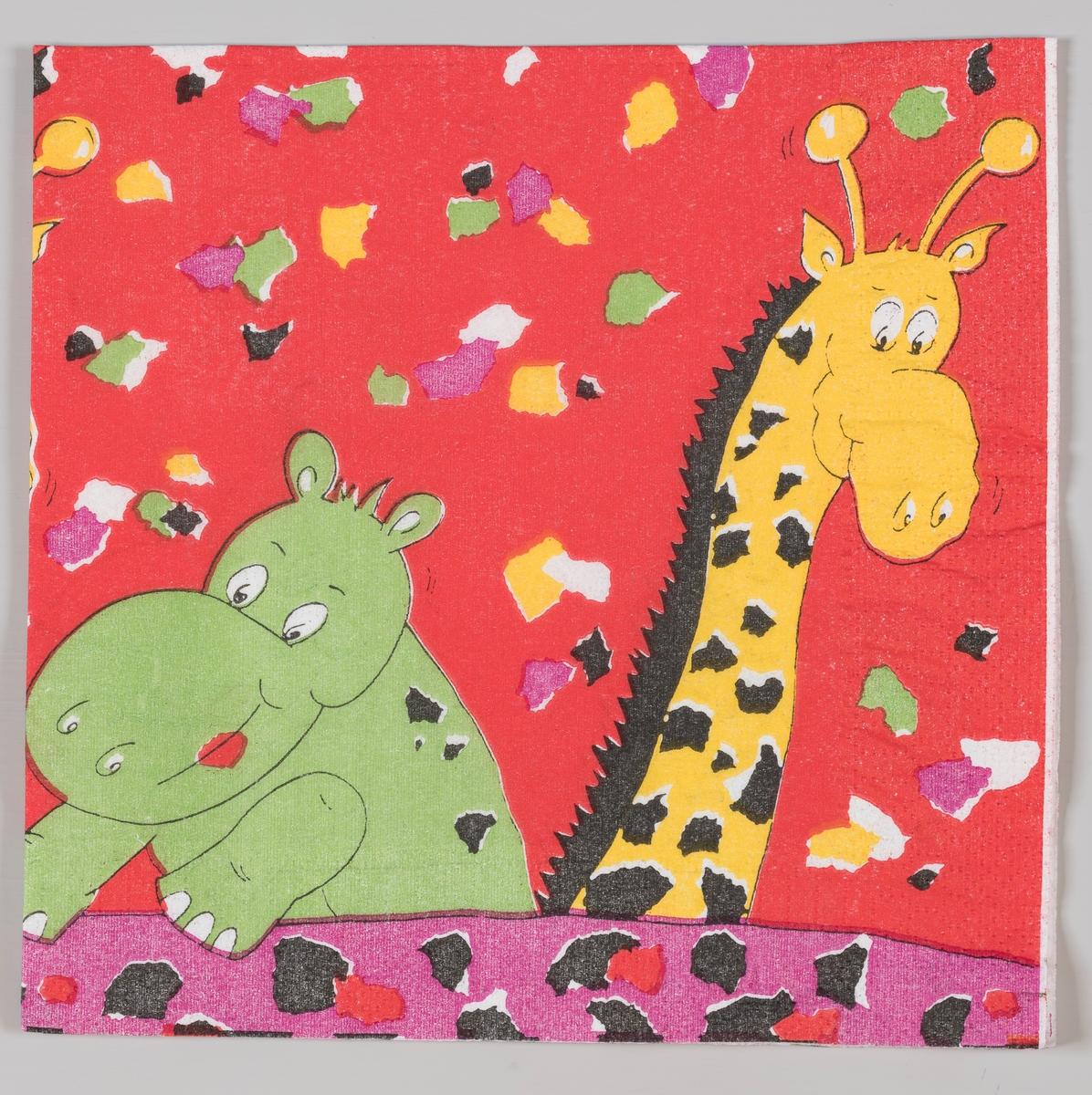 En flodhest og en giraff og masse konfetti