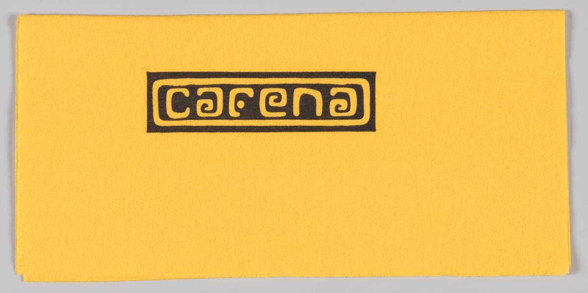 En firkantet ramme med reklametekst for Cafena.